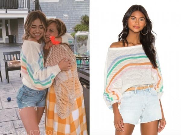 mykenna dorn, the bachelor, white rainbow stripe sweater