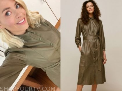 this morning, holly willoughby, green leather dress