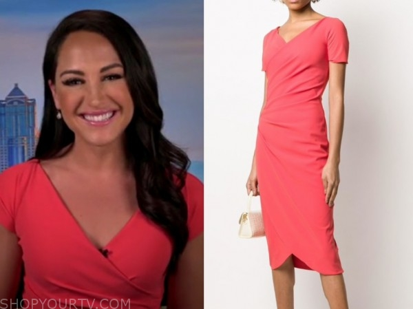 emily compagno, fox and friends, coral dress