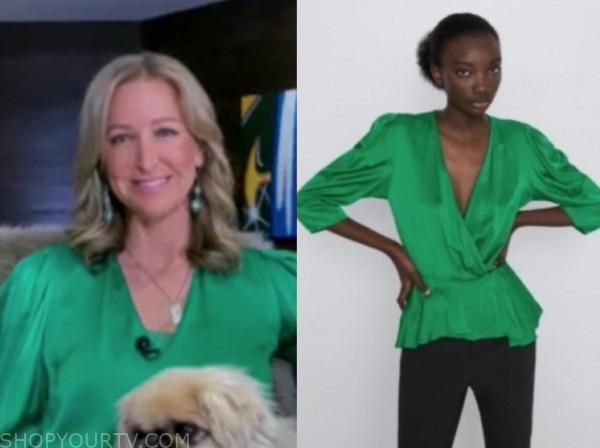 lara spencer, good morning america, green silk blouse
