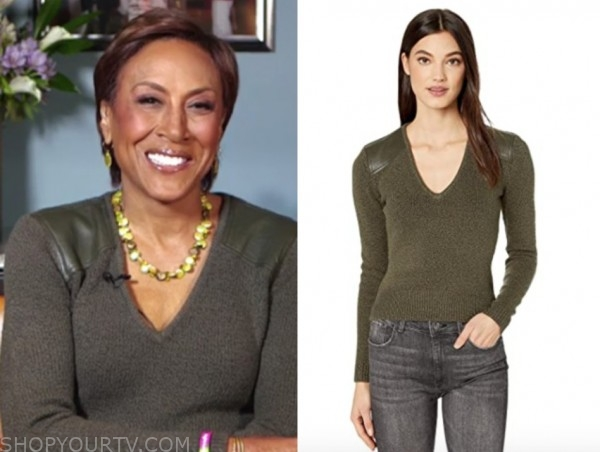 robin roberts, good morning america, green leather shoulder sweater