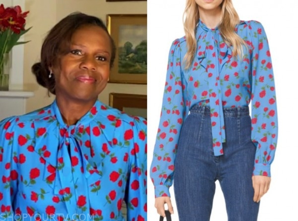 deborah roberts, good morning america, blue and red floral tie neck blouse