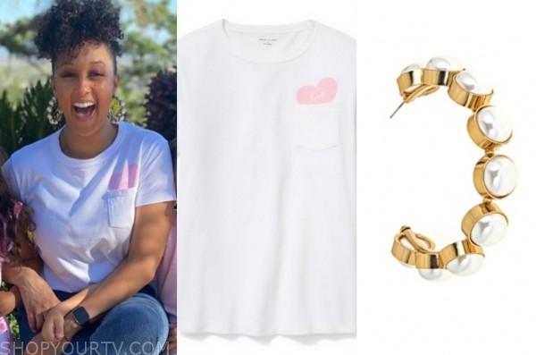 tamera mowry, the real, heart tee, pearl hoop earrings