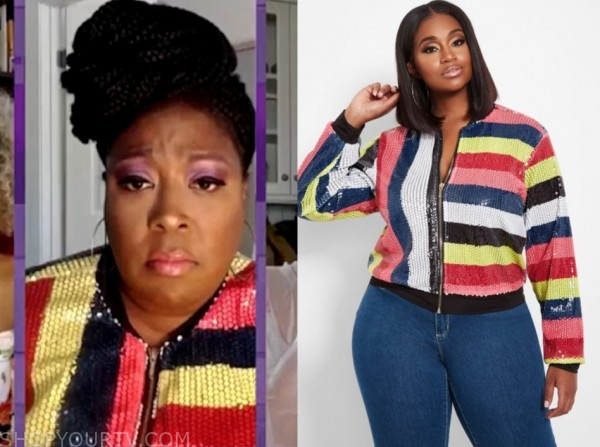 loni love, sequin stripe bomber jacket, the real