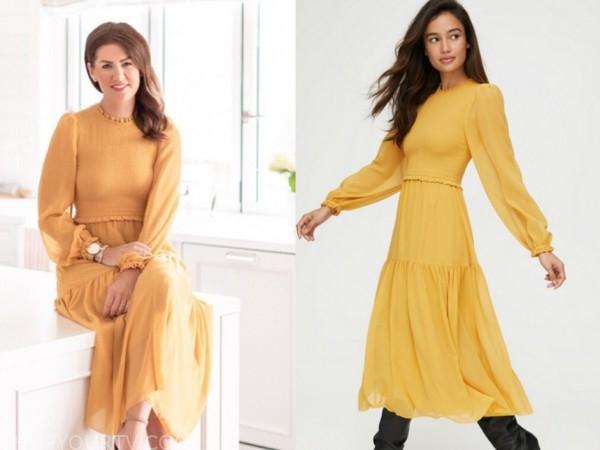 jillian harris, the bachelorette, yellow smocked midi dress