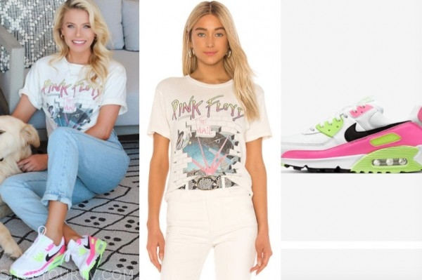 emily ferguson, the bachelor, pink floyd tee, neon sneakers