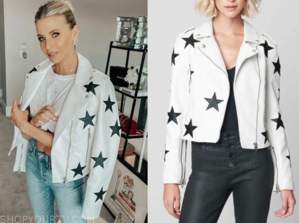 haley ferguson, the bachelor, white star print leather jacket