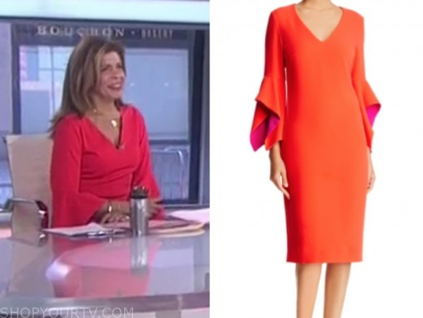 hoda kotb, the today show, red v-neck dress