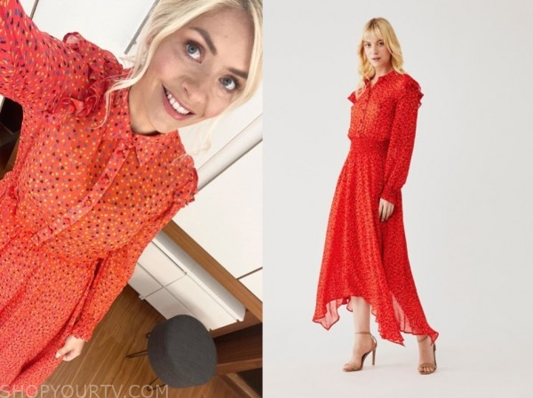 holly willoughby, this morning, red heart print dress
