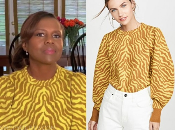 good morning america, yellow zebra sweater, deborah roberts