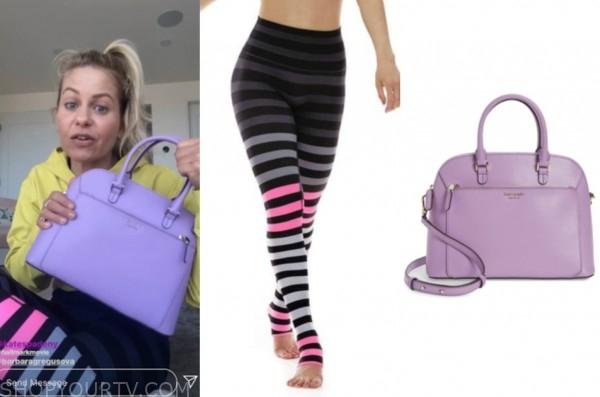 candace cameron bure, purple purse, striped leggings