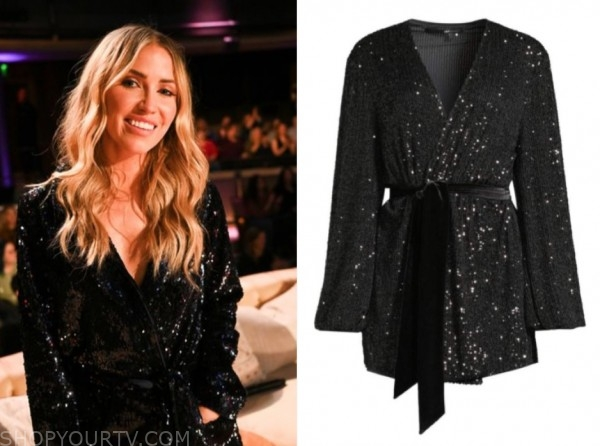 kaitlyn bristowe, listen to your heart, black sequin wrap dress
