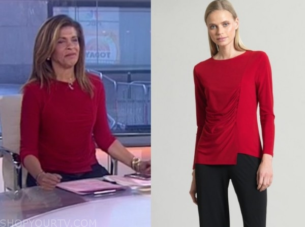 the today show, hoda kotb, red side ruched top