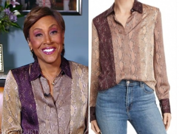 robin roberts, good morning america, snakeskin colorblock blouse