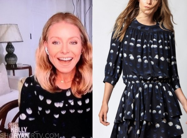 kelly ripa, live with kelly and ryan, navy dot dress