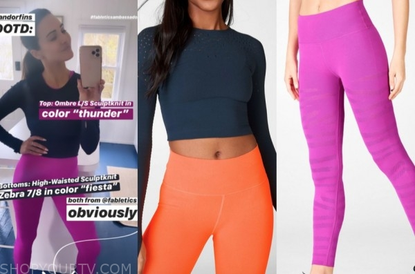 andi dorfman, the bachelorette, navy blue top and hot pink leggings