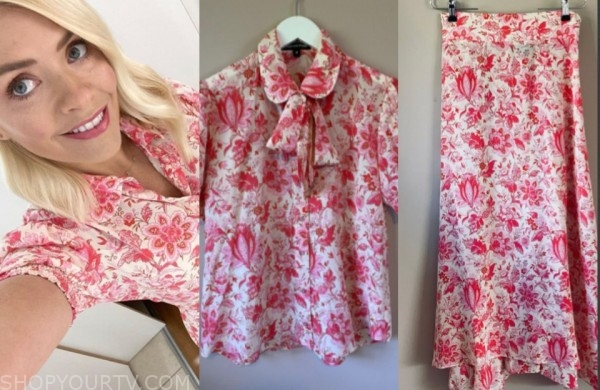 holly willoughby, this morning, floral blouse and skirt set