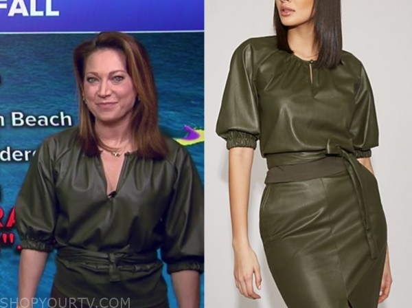 ginger zee, green leather top, good morning america
