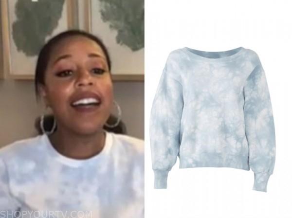sheinelle jones, the today show, blue tie dye sweatshirt