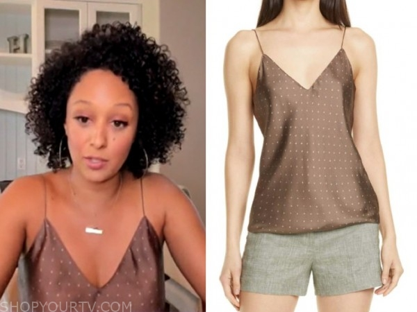 the real, polka dot camisole, tamera mowry