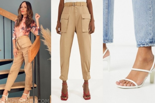 lilliana vazquez, E! news, cargo pants, white sandal heels