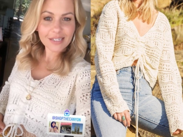candace cameron bure, ivory crop sweater