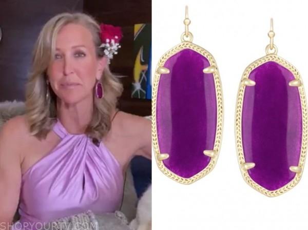 lara spencer, good morning america, purple drop earrings