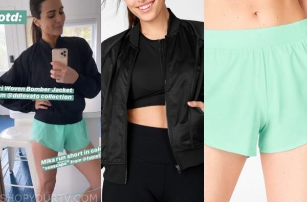 andi dorfman, the bachelorette, black bomber jacket, green shorts