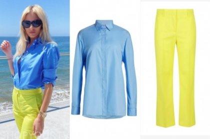 morgan stewart, E! news, blue shirt, yellow pants