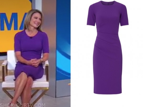 amy robach, good morning america, purple sheath dress