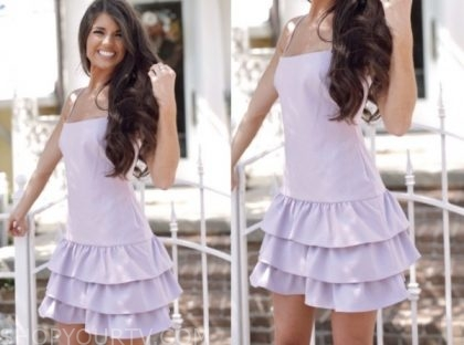 madison prewett, the bachelor, lilac ruffle tiered dress