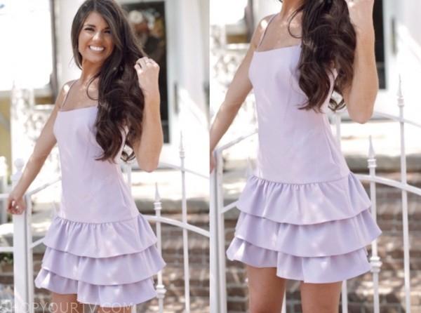 madison prewett, the bachelor, lilac ruffle tiered dress