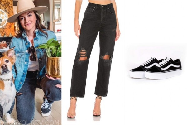 tia booth, the bachelor, distressed jeans, black sneakers