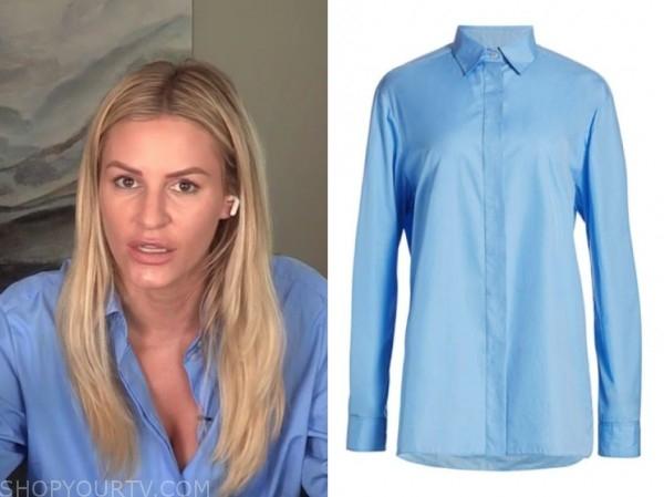 morgan stewart, E! news, daily pop, blue shirt