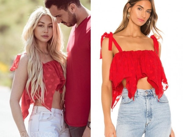 corinne olympios, the bachelor, heart print crop top