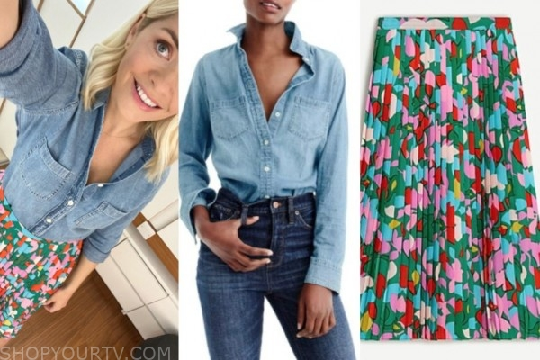 holly willoughby, denim shirt, pleated printed skirt, this morning