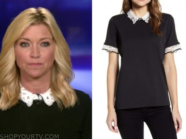 ainsley earhardt, fox and friends, black and white lace collar top