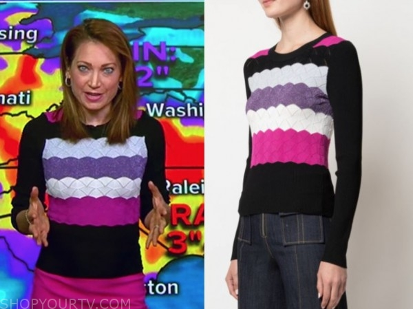ginger zee, good morning america, purple and pink scallop sweater