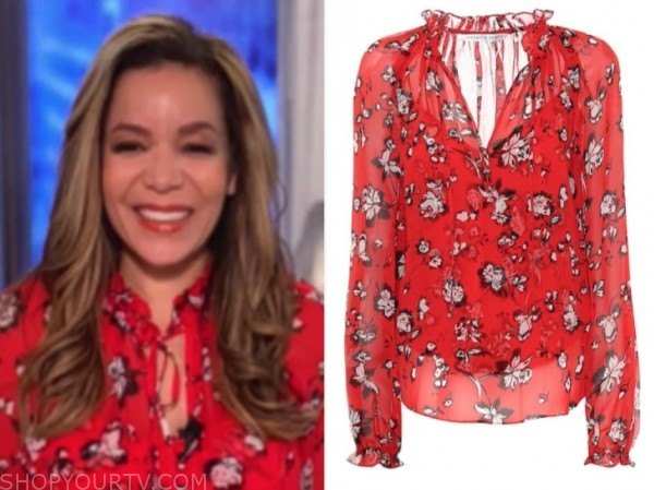 sunny hostin, the view, red floral blouse