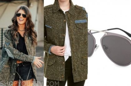 madison prewett, the bachelor, army leopard jacket, sunglasses