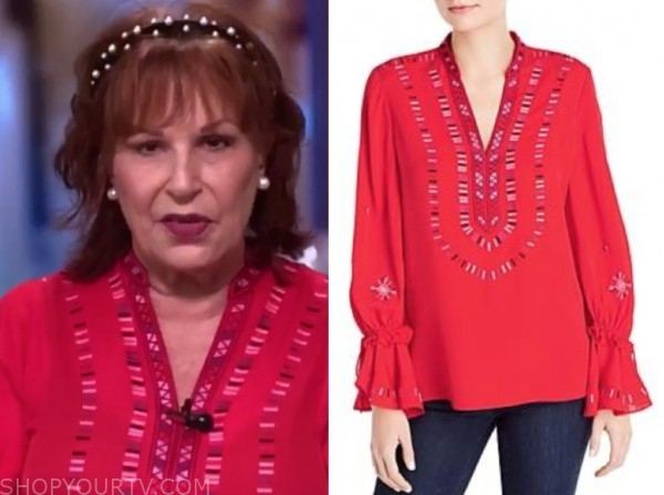 joy behar, the view, red printed blouse