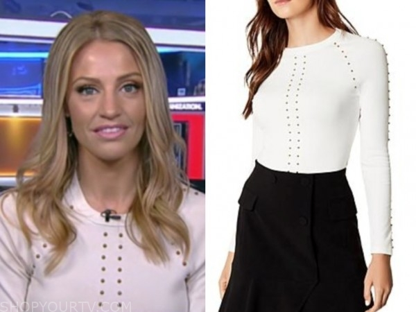 carley shimkus, fox and friends, white studded sweater