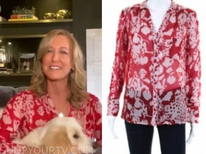 lara spencer, good morning america, red printed blouse