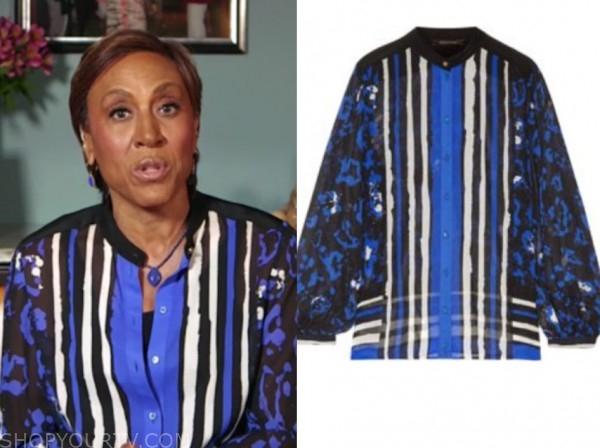 robin roberts, good morning america, blue printed blouse