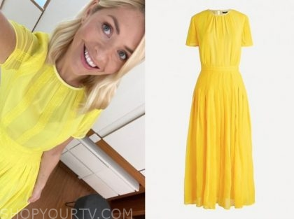 holly willoughby, this morning, yellow midi dress