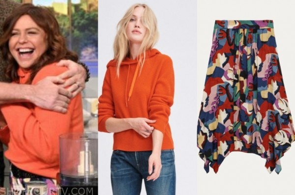 the rachael ray show, rachael ray, orange hoodie, printed skirt