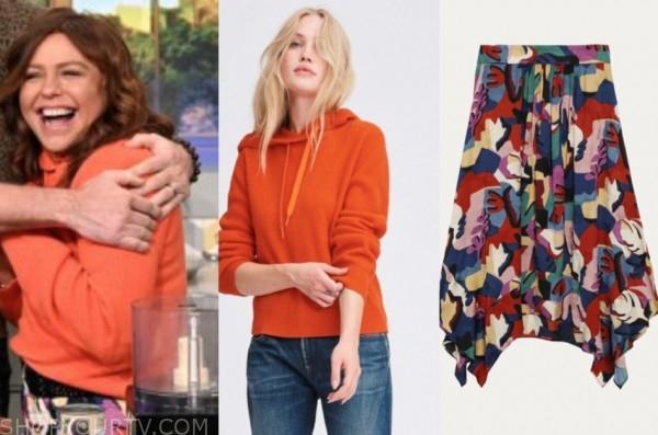the rachael ray show, rachael ray, orange hoodie, printed skirt
