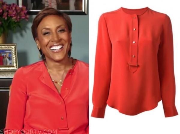 robin roberts, red orange blouse, good morning america