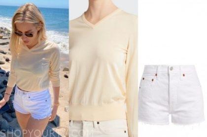 morgan stewart, E! news, yellow sweater, white shorts