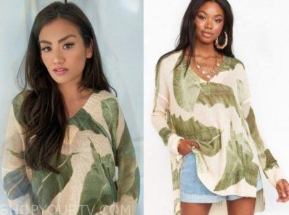 caila quinn, the bachelor, palm print sweater